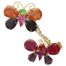 1990's Vintage Joan Rivers 2 Rhinestone Butterflies Chatelaine Pin