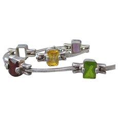 1980's Vintage Sterling Silver Bar Link & Emerald Cut Gemstone Bracelet, Topaz, Amethyst, Garnet, Citrine, Peridot