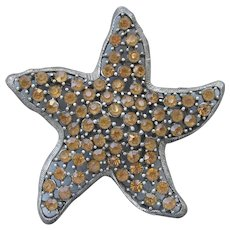 Big Sparkling Vintage Signed WEISS Amber Rhinestone StarFish Pin