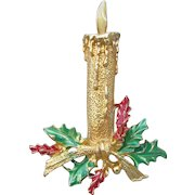 Christmas Pin Signed Gerry's Gold Tone Candle Stick & Enamel Holly Brooch