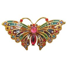 1990's Vintage Joan Rivers Plique Du Jour Stained Glass Butterfly Pin