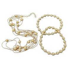 Signed Joan RIVERS Bead & Chain LONG Necklace & Bracelets Set