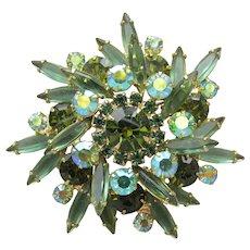 Juliana D & E Lime Green Navette Rhinestone Layered Vintage Pin