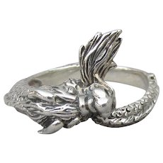 Unisex DRAGON Tail in Mouth Sterling Silver Vintage 1980's Band Ring, Size 11