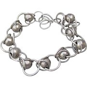 Hand-Made Artisan Sterling Silver Bead & Ring Adjustable Bracelet