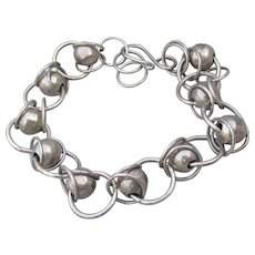 Hand-Made Artisan Sterling Silver Bead & Ring Adjustable Bracelet