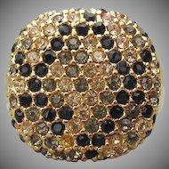 1990's Vintage Signed JOAN Rivers BIG Square Black & Amber Rhinestone Ring, Size 8