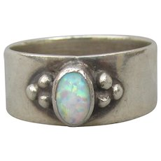 OPAL Balinese Wide Sterling Silver Vintage Band Ring, Size 7