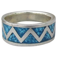 Inlaid Turquoise Chip Native American Navajo Vintage Sterling Silver Band Ring, Size 6.5