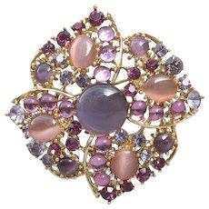 Unsigned WEISS Vintage Lavender & Pink Glass Moonglow Cabochon Rhinestone Pin