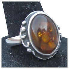 Vintage Sterling Silver & Genuine Cognac Baltic Amber Ring, Size 7.5