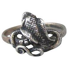 1980's Vintage Biker Chic Sterling Silver COBRA Snake Ring, Size 10