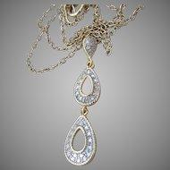 Dainty Gold Plated Sterling Silver Vermeil Double Tear Drop Vintage Pendant Necklace