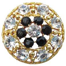 Signed WEISS Vintage Brilliant Crystal & Black Rhinestone Gold Tone Circle Pin