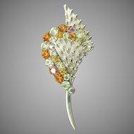 CORO Pegasus Vintage 1950's Mid-Century Modern Amber Rhinestone Flower Bouquet Pin
