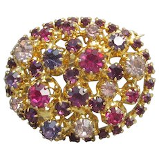 Made In AUSTRIA Vintage Crystal Pink & Purple Rhinestone Oval Layered Pin