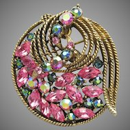 Signed WEISS Mid-Century Modern BOW Pink & Green AB Rhinestone Pin