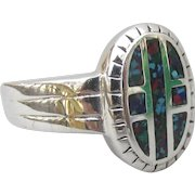 Men's Vintage Native American Inlaid Turquoise & Coral Chip CROSS Ring, Size 13, New Old Store Stock