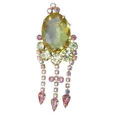 Juliana D & E Pale Yellow & AB Pink Rhinestone Dangle Vintage Pin, MINT!
