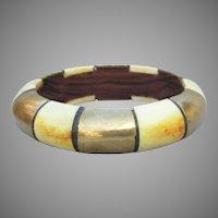 Vintage Bone, Wood, & Brass Indie BIG Bangle Bracelet