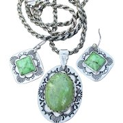 Hopi Native American Vintage Sterling Silver, Lime Green Turquoise Long Necklace & Pierced Earrings Set