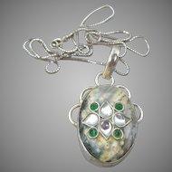 Jasper & Crystal in Sterling Silver Vintage Oval Pendant Necklace