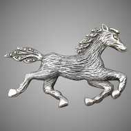 Sterling Silver & Marcasite 1980's Vintage Galloping HORSE Pin