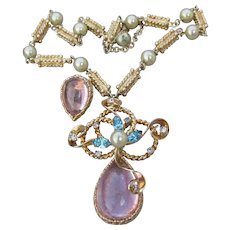 Funky Retro 1950's Aqua & Pink Rhinestone & Faux Pearl Necklace Earrings Set