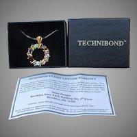 Vintage Technibond Multi Gemstone Sterling Silver Vermeil Necklace, MIB