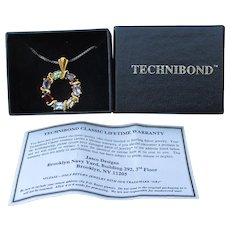 New In Box! 1990's Vintage Technibond Multi Gemstone Gold Plated Sterling Silver Pendant Necklace