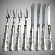 Antique Victorian Henry Wigfell Sheffield, England 8 Pc. Sterling Silver Fruit Dessert Set, Flatware Service for 4