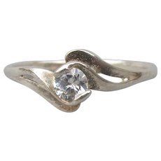 Dainty Sterling Silver .25 Carat CZ Cubic Zirconia Solitaire Engagement or Pre-Engagement Ring, Size 7.5