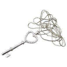 Valentine's Day Long Sterling Silver CZ HEART Top KEY Vintage Pendant Necklace