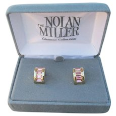 New In Box, Nolan Miller 1990's Vintage Pink Rhinestone Demi Hoop Pierced EArrings