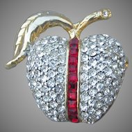Signed NLH Nat Landau Hyman Co. 1980's Vintage Rhinestone APPLE Pin