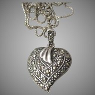 Valentine's Day Pretty Vintage 1980's Sterling Silver & Marcasite HEART Pendant Necklace