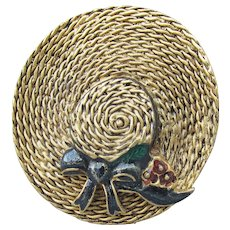 Signed MFA Museum of Fine Art Vintage Enamel Gold Tone Straw HAT Pin