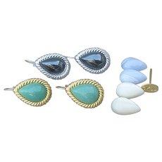 Two Pair Set Kenneth Jay Lane KJL Interchangeable Gemstone Vintage Lever Back Earrings