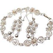 "Vintage Turkish Sterling Silver Filigree Long Chandelier Earrings & 8 1/2"" LONG Bracelet Set"