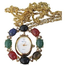Gemstone SCARAB Circle with Majestron Watch Vintage Pendant Necklace