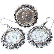 Carolyn Pollack Relios Native American Vintage Sterling Silver Mercury Dime Ring & Earrings Set