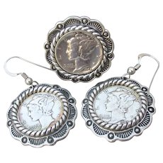 Carolyn Pollack Relios Native American Vintage Sterling Silver Mercury Dime Ring & Earrings Set