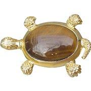 Gold Tone Tiger Eye Scarab TURTLE Vintage Pin or Pendant