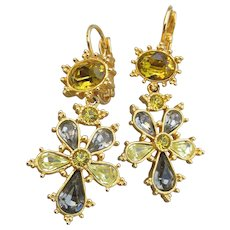 Joan Rivers 1990's Vintage Gold Tone Citrine Rhinestone Russian Cross Lever Back Dangle Earrings