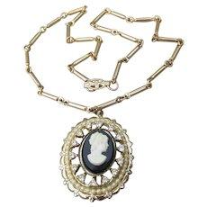 Signed CORO Pegasus 1950's Vintage Rhinestone & Faux Pearl CAMEO Necklace