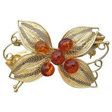 Fine Gold Filled Filigree & Baltic Amber Flower & Bow Vintage Pin