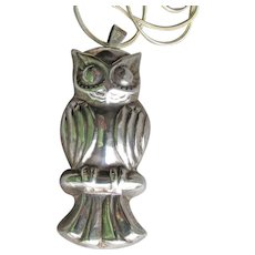 Large Sterling Silver OWL Pendant or Pin, Long Vintage 1980's Necklace