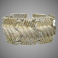 1950's Signed CORO Wide Gold Tone Mid-Century Modernist Bracelet