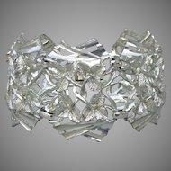 WIDE Ivy Leaf Silver Tone 1950's Vintage Chunky Bracelet