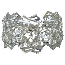 WIDE Ivy Leaf Link Silver Tone 1950's Modernist Bracelet